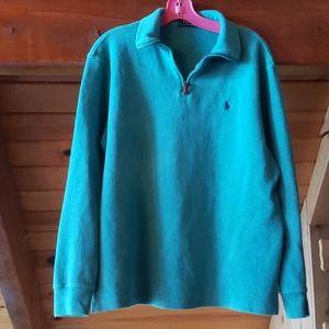 Mens Polo quarter zip pullover (teal)